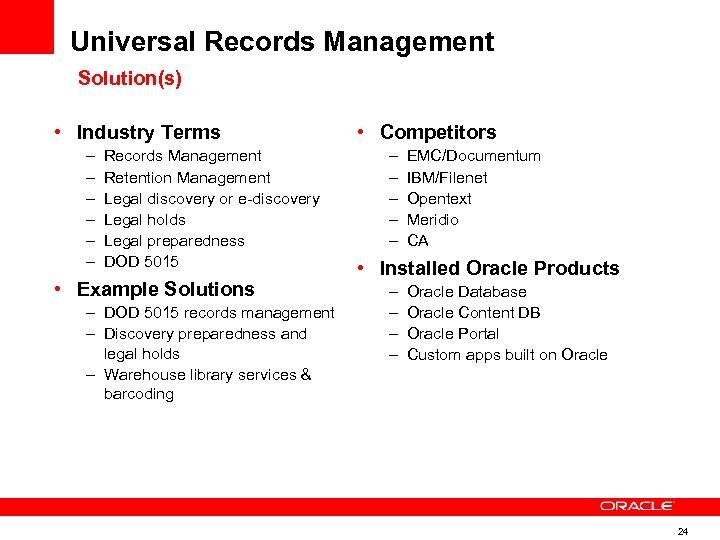 Universal Records Management Solution(s) • Industry Terms – – – Records Management Retention Management
