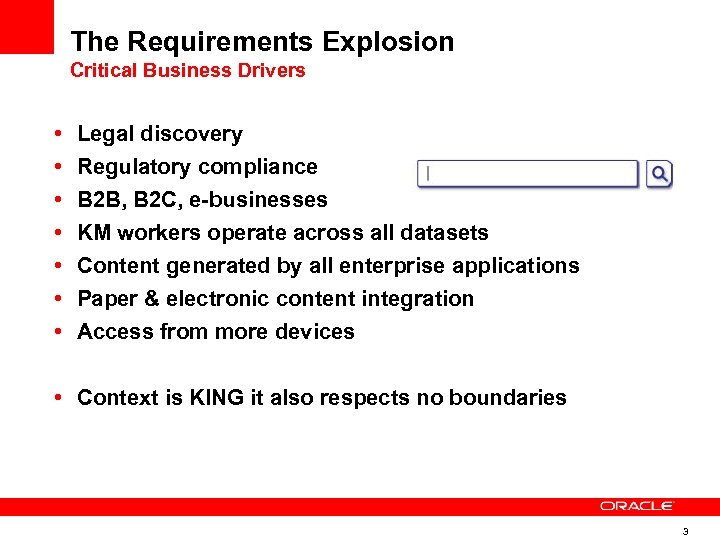The Requirements Explosion Critical Business Drivers • • Legal discovery Regulatory compliance B 2