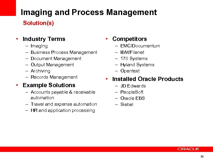 Imaging and Process Management Solution(s) • Industry Terms – – – Imaging Business Process