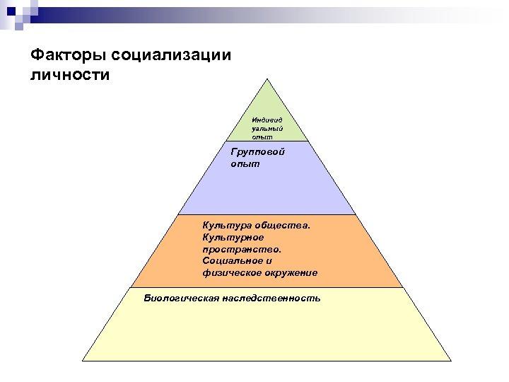 Факторы социализации личности Индивид уальный опыт Групповой опыт Культура общества. Культурное пространство. Социальное и