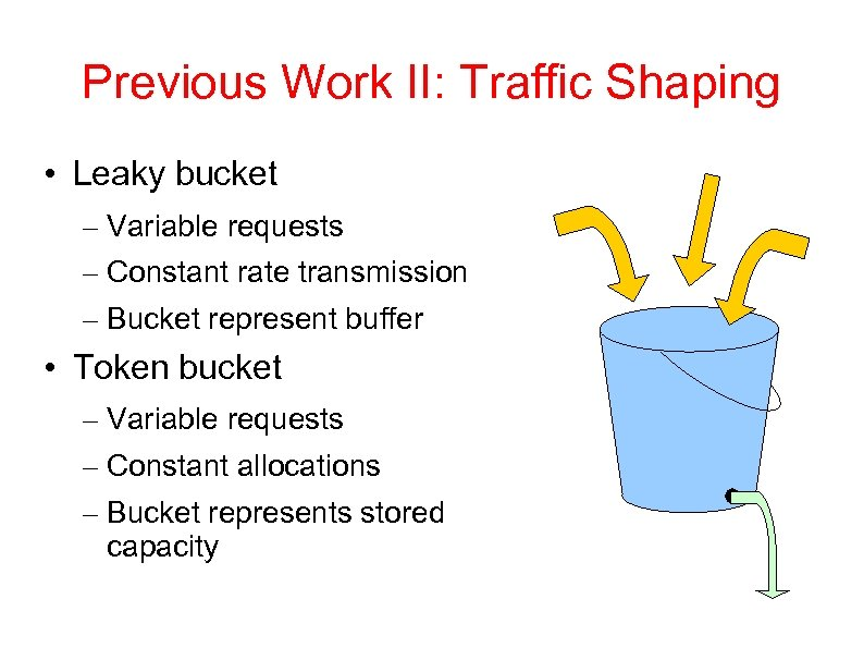 Previous Work II: Traffic Shaping • Leaky bucket – Variable requests – Constant rate