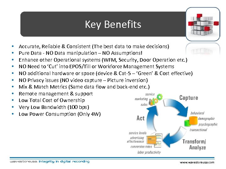 Key Benefits • • • Accurate, Reliable & Consistent (The best data to make