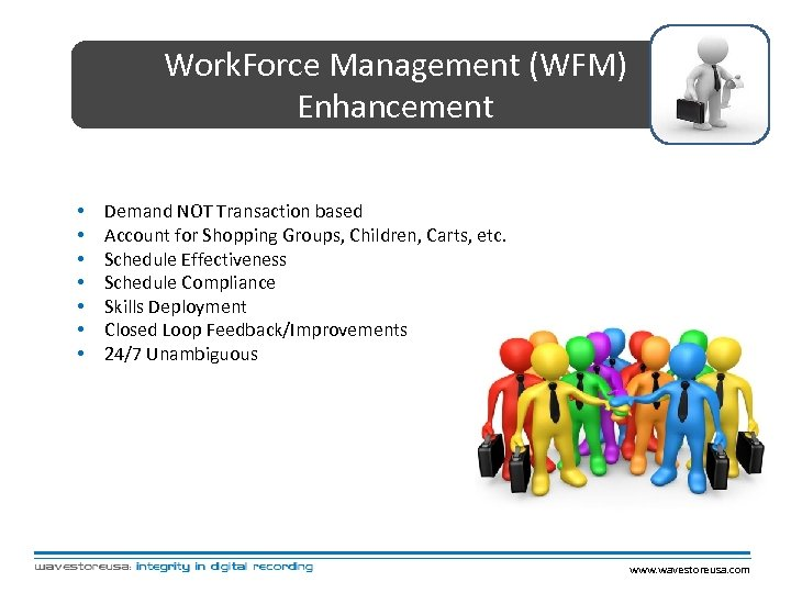 Work. Force Management (WFM) Enhancement • • Demand NOT Transaction based Account for Shopping