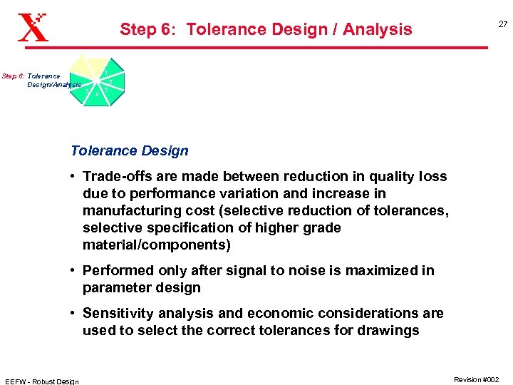 Step 6: Tolerance Design / Analysis Step 6: Tolerance Design/Analysis 27 1 2 5