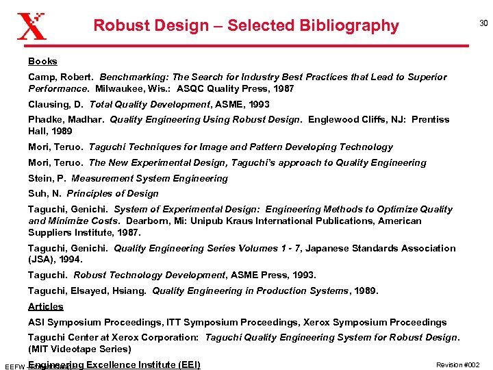 Robust Design – Selected Bibliography 30 Books Camp, Robert. Benchmarking: The Search for Industry