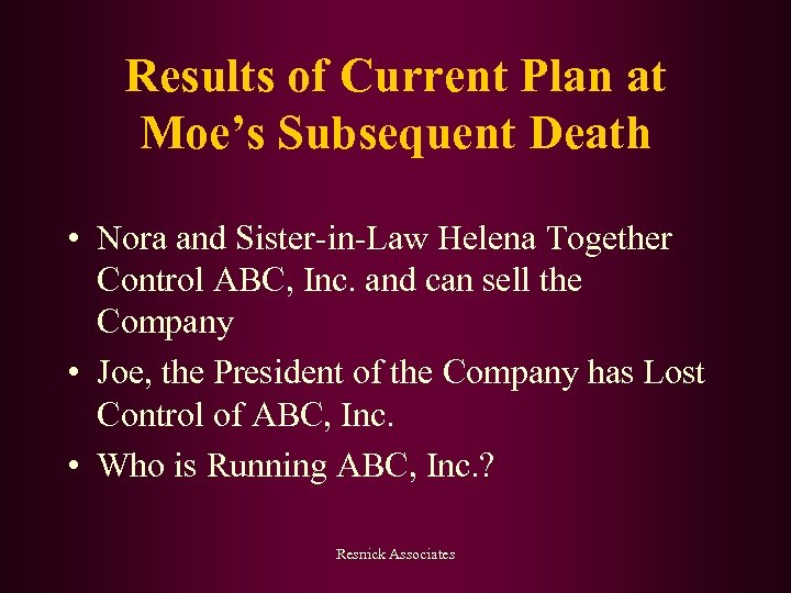 Results of Current Plan at Moe's Subsequent Death • Nora and Sister-in-Law Helena Together