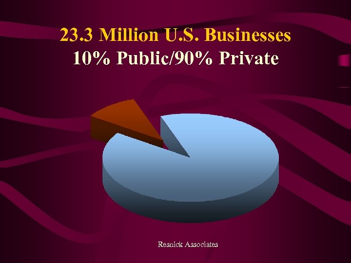 23. 3 Million U. S. Businesses 10% Public/90% Private Resnick Associates