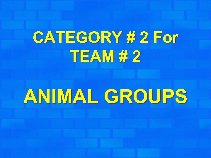 CATEGORY # 2 For TEAM # 2 ANIMAL GROUPS