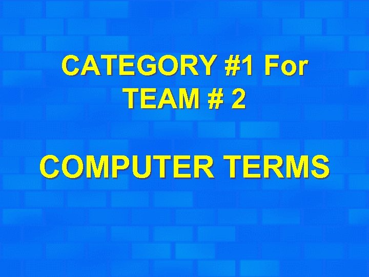 CATEGORY #1 For TEAM # 2 COMPUTER TERMS