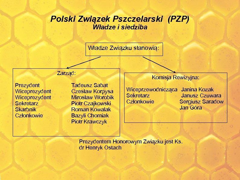 Polski Związek Pszczelarski (PZP) Władze i siedziba Władze Związku stanowią: Zarząd: Prezydent Wiceprezydent Sekretarz