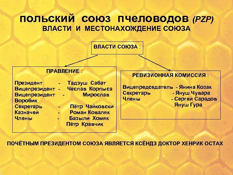польский союз пчеловодов (PZP) ВЛАСТИ И МЕСТОНАХОЖДЕНИЕ СОЮЗА ВЛАСТИ СОЮЗА : ПРАВЛЕНИЕ : Президент