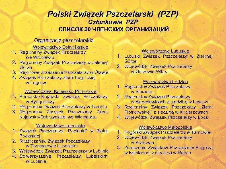 Polski Związek Pszczelarski (PZP) Członkowie PZP СПИСОК 50 ЧЛЕНСКИХ ОРГАНИЗАЦИЙ Organizacje pszczelarskie 1. 2.