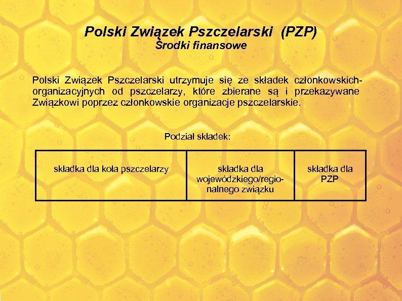 Polski Związek Pszczelarski (PZP) Środki finansowe Polski Związek Pszczelarski utrzymuje się ze składek członkowskichorganizacyjnych