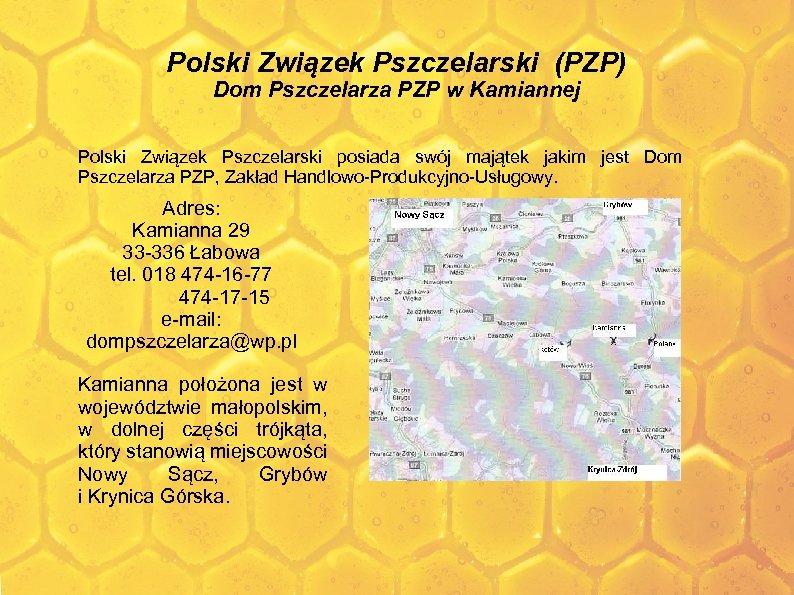 Polski Związek Pszczelarski (PZP) Dom Pszczelarza PZP w Kamiannej Polski Związek Pszczelarski posiada swój