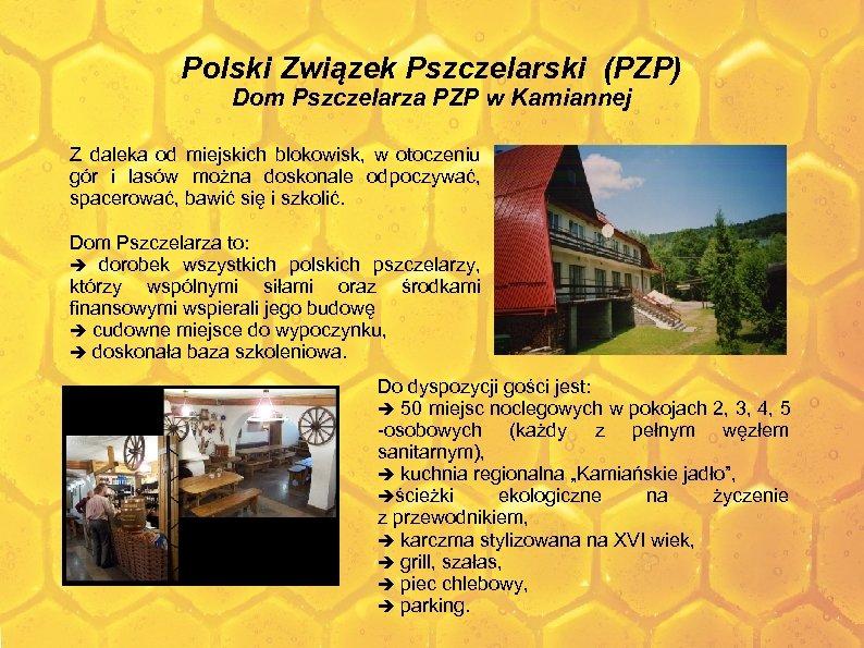 Polski Związek Pszczelarski (PZP) Dom Pszczelarza PZP w Kamiannej Z daleka od miejskich blokowisk,