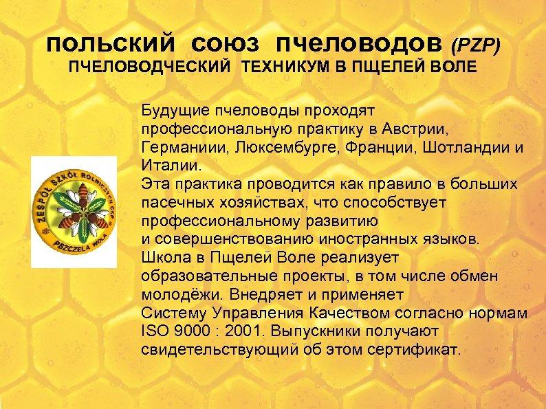 польский союз пчеловодов (PZP) ПЧЕЛОВОДЧЕСКИЙ ТЕХНИКУМ В ПЩЕЛЕЙ ВОЛЕ Будущие пчеловоды проходят профессиональную практику