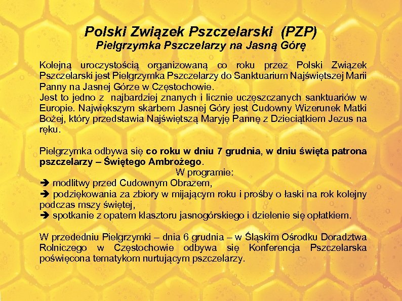 Polski Związek Pszczelarski (PZP) Pielgrzymka Pszczelarzy na Jasną Górę Kolejną uroczystością organizowaną co roku