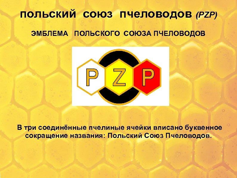 польский союз пчеловодов (PZP) ЭМБЛЕМА ПОЛЬСКОГО СОЮЗА ПЧЕЛОВОДОВ В три соединённые пчелиные ячейки вписано