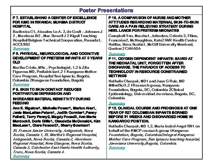 Poster Presentations P 7. ESTABLISHING A CENTER OF EXCELLENCE FOR KMC IN RWANDA: MUHIMA