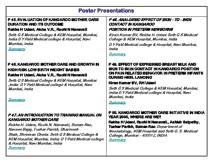 Poster Presentations P 45. EVALUATION OF KANGAROO MOTHER CARE DURATION AND ITS OUTCOME Rekha
