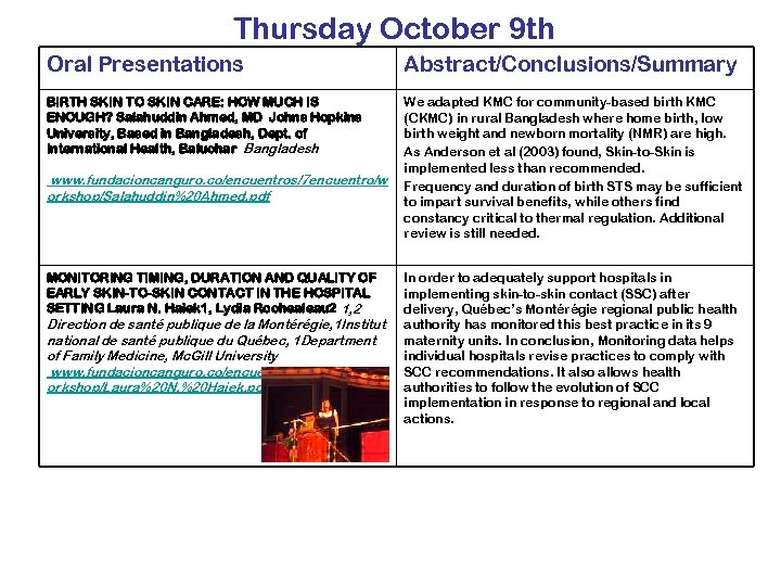 Thursday October 9 th Oral Presentations Abstract/Conclusions/Summary BIRTH SKIN TO SKIN CARE: HOW MUCH