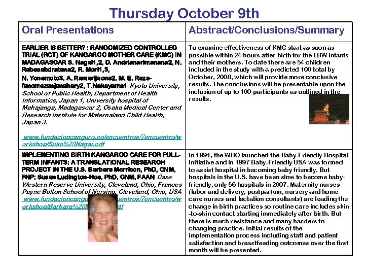 Thursday October 9 th Oral Presentations Abstract/Conclusions/Summary EARLIER IS BETTER? : RANDOMIZED CONTROLLED TRIAL