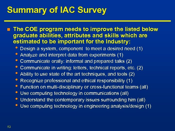 Summary of IAC Survey n The COE program needs to improve the listed below