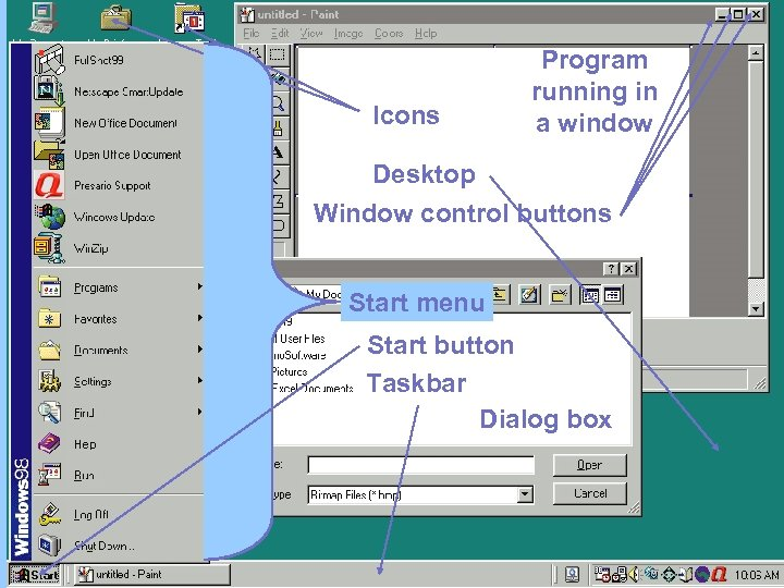 Icons Program running in a window Desktop Window control buttons Start menu Start button