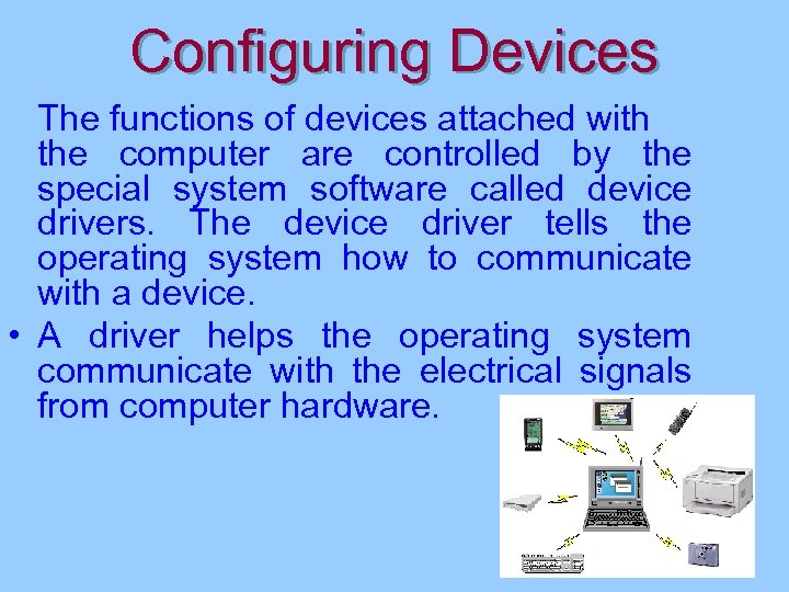 Configuring Devices The functions of devices attached with the computer are controlled by the