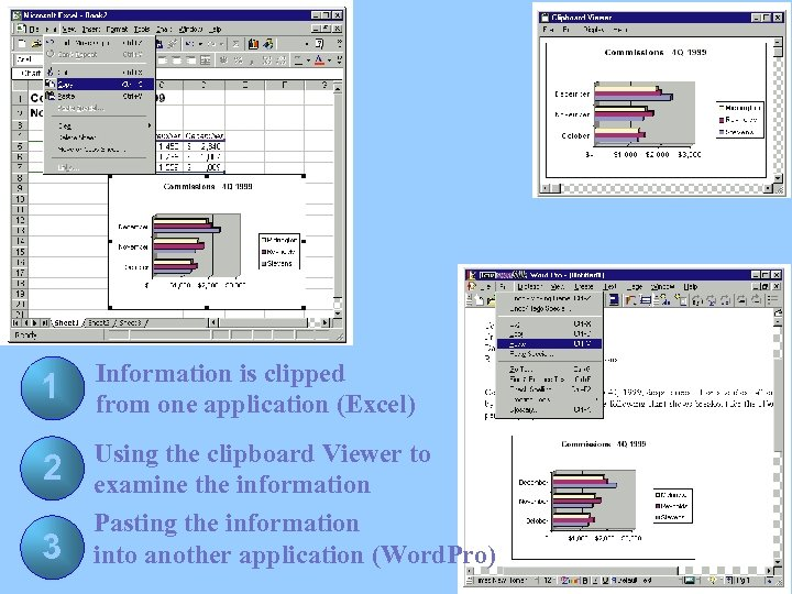 1 Information is clipped from one application (Excel) 2 Using the clipboard Viewer to