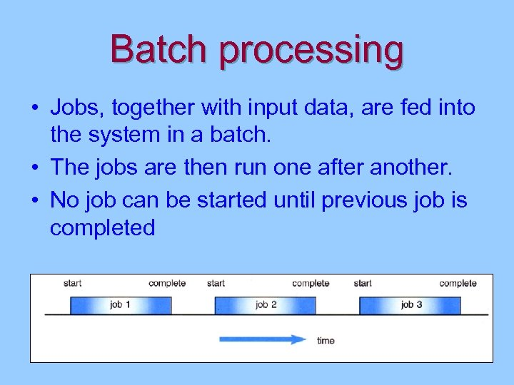 Batch processing • Jobs, together with input data, are fed into the system in