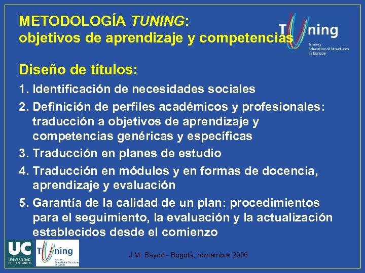 METODOLOGÍA TUNING: objetivos de aprendizaje y competencias Diseño de títulos: 1. Identificación de necesidades