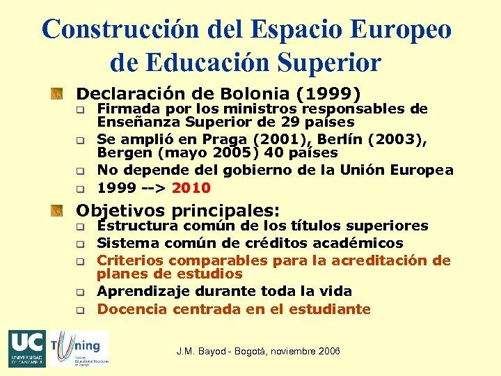 Construcción del Espacio Europeo de Educación Superior Declaración de Bolonia (1999) q q Firmada