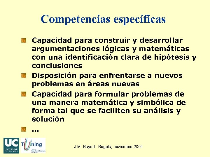 Competencias específicas Capacidad para construir y desarrollar argumentaciones lógicas y matemáticas con una identificación