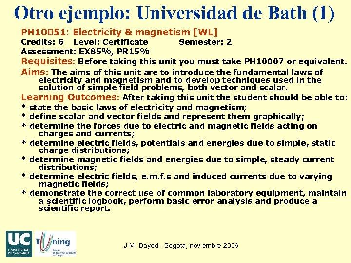 Otro ejemplo: Universidad de Bath (1) PH 10051: Electricity & magnetism [WL] Credits: 6