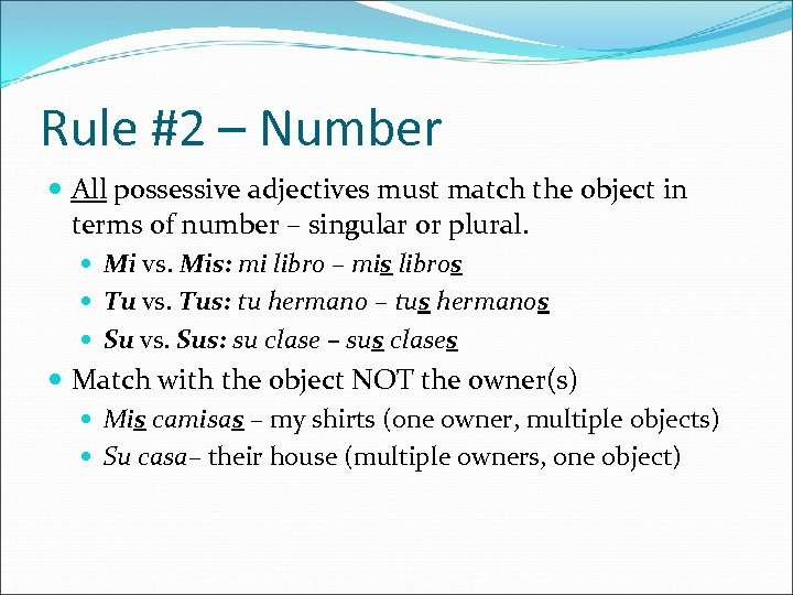 Rule #2 – Number All possessive adjectives must match the object in terms of
