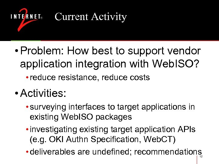 Current Activity • Problem: How best to support vendor application integration with Web. ISO?