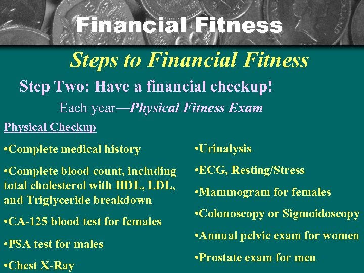 Financial Fitness Steps to Financial Fitness Step Two: Have a financial checkup! Each year—Physical