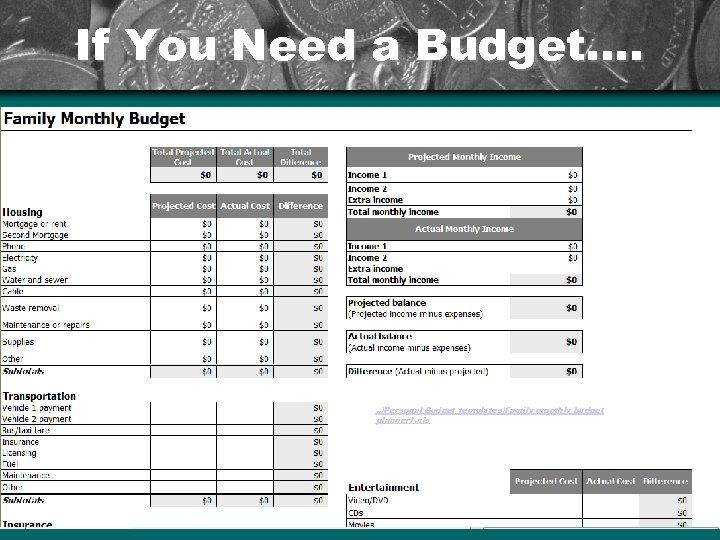 If You Need a Budget…. . . Personal Budget templatesFamily monthly budget planner 1.