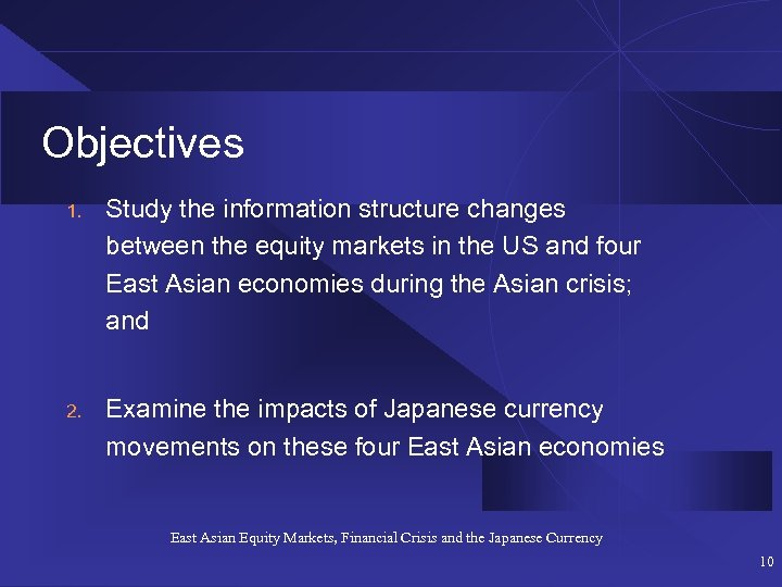 Objectives 1. Study the information structure changes between the equity markets in the US