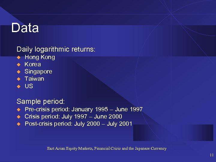 Data Daily logarithmic returns: u u u Hong Korea Singapore Taiwan US Sample period: