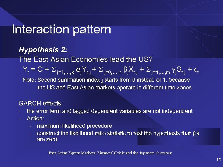 Interaction pattern Hypothesis 2: The East Asian Economies lead the US? Yt = C