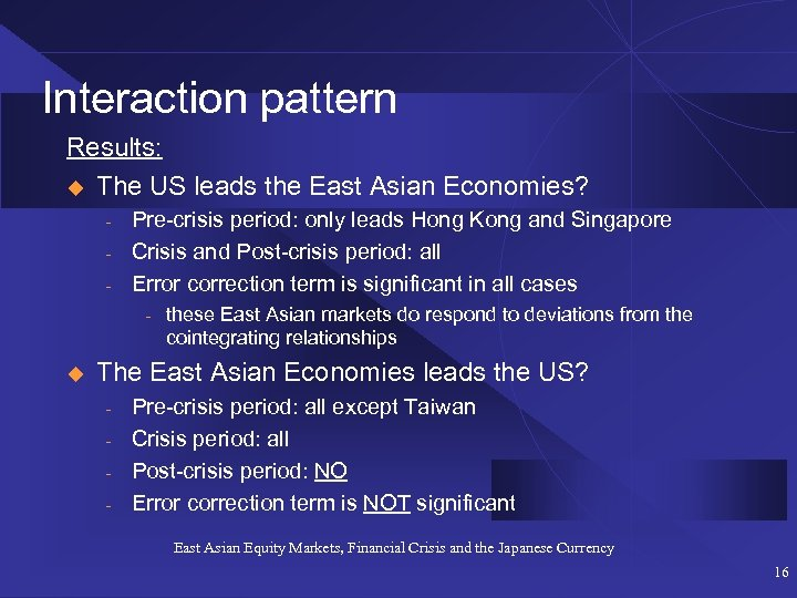 Interaction pattern Results: u The US leads the East Asian Economies? - Pre-crisis period: