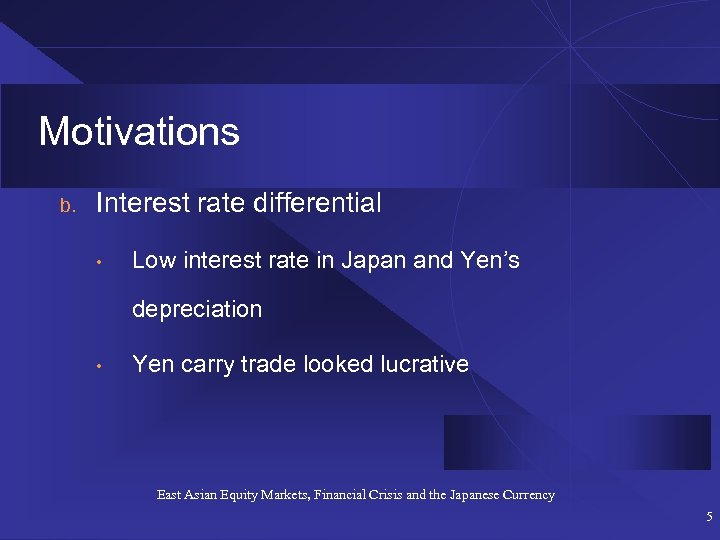 Motivations b. Interest rate differential • Low interest rate in Japan and Yen's depreciation