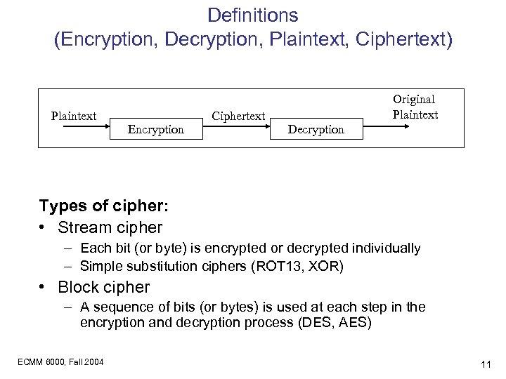 Definitions (Encryption, Decryption, Plaintext, Ciphertext) Plaintext Encryption Ciphertext Original Plaintext Decryption Types of cipher: