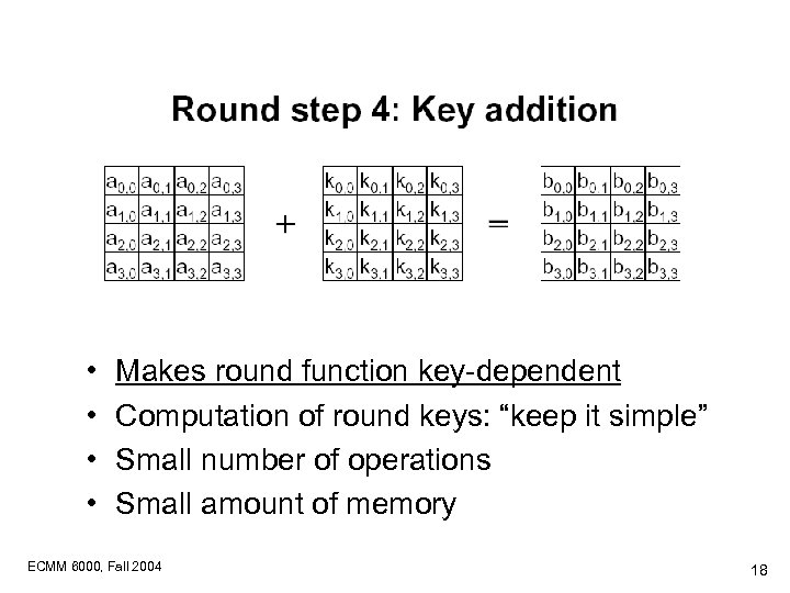 "• • Makes round function key-dependent Computation of round keys: ""keep it simple"""
