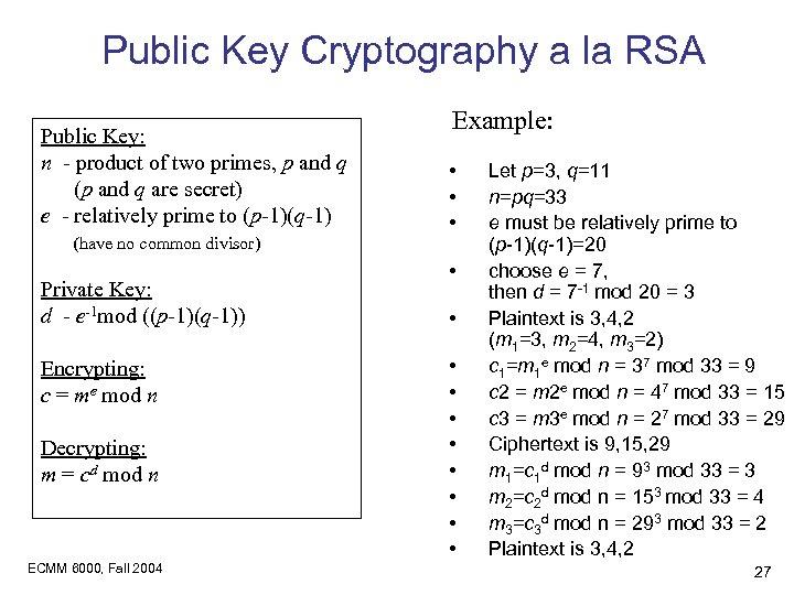 Public Key Cryptography a la RSA Public Key: n - product of two primes,
