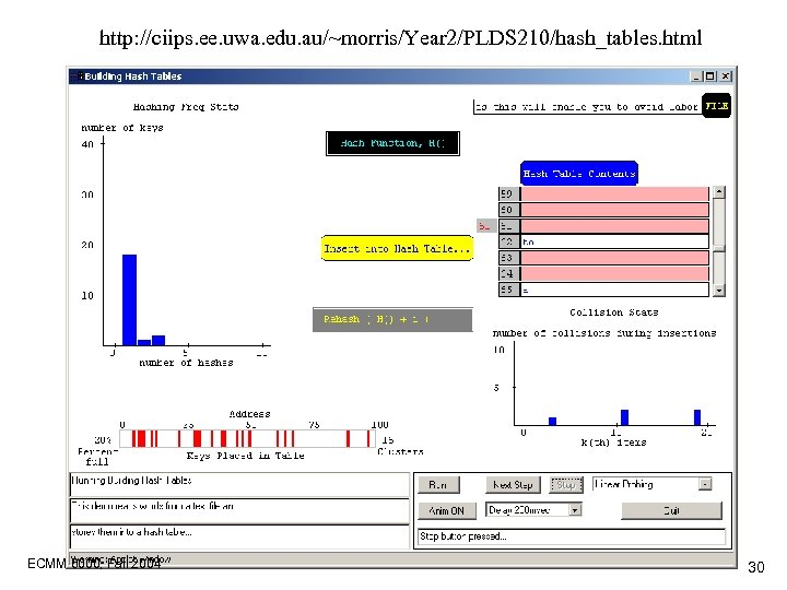 http: //ciips. ee. uwa. edu. au/~morris/Year 2/PLDS 210/hash_tables. html ECMM 6000, Fall 2004 30