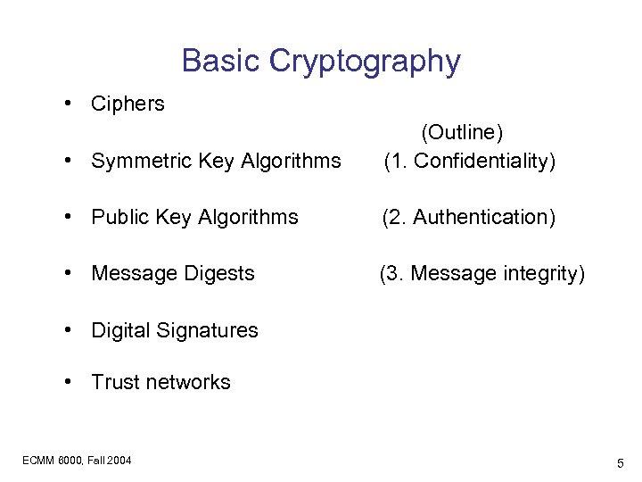 Basic Cryptography • Ciphers • Symmetric Key Algorithms (Outline) (1. Confidentiality) • Public Key