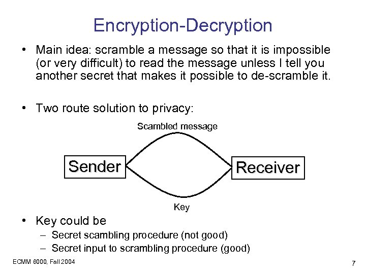 Encryption-Decryption • Main idea: scramble a message so that it is impossible (or very